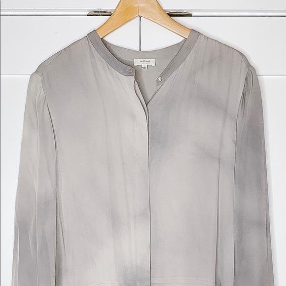 Aritzia Wilfred Silk Button Blouse - Grey Tie-Dye
